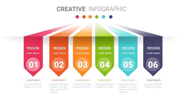 Infografiken vorlage mit nummer sechs option.