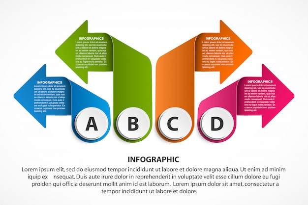 Infografiken vorlage mit pfeilen für business-präsentationen.