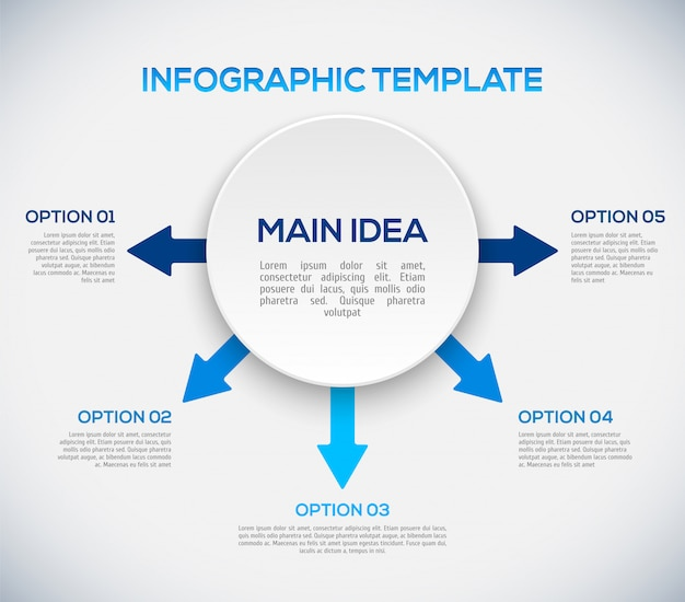 Infografiken vorlage mit pfeilen und 3d-kreis.