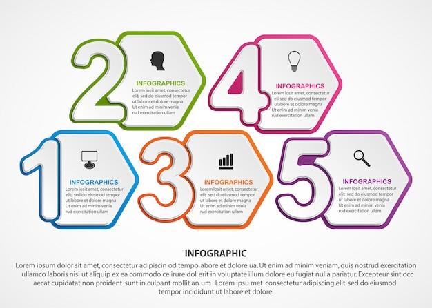 Infografiken-vorlage mit zahlenoption.