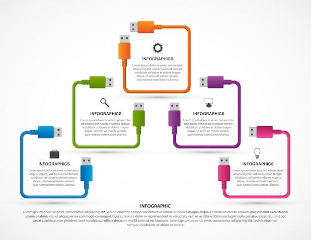 Infografiken vorlage. usb-kabel.