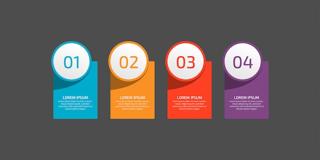 Infografiken vorlagenelement für grafiken, diagramme, diagramme, geschäftsoptionen oder web. kreativ mit vier optionen, schritten oder prozessen.