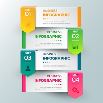 Infografiken-vorlagenoptionen mit rechteckfahne