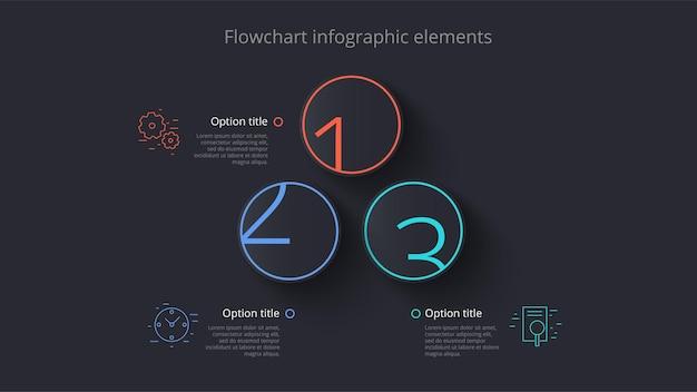 Infografiken zu geschäftsprozessdiagrammen mit 3 schrittsegmenten rundschreiben firmenzeitleiste infografik elem