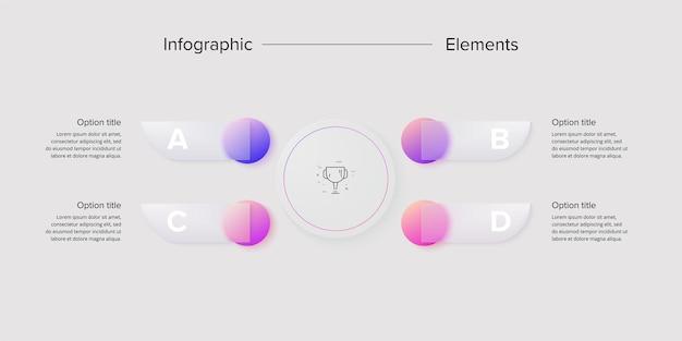 Infografiken zu geschäftsprozessdiagrammen mit 4-schritt-kreisen kreisförmige grafische elemente des unternehmensworkflows präsentationsfolie des unternehmensflussdiagramms