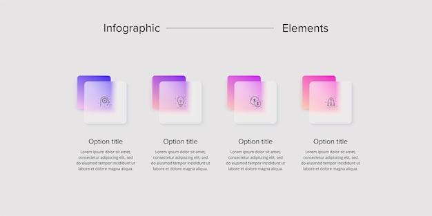 Infografiken zu geschäftsprozessdiagrammen mit 4-schritte-quadrate grafikelemente für unternehmensworkflow