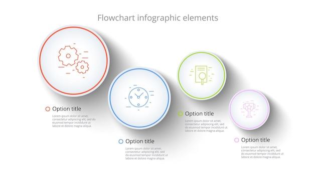 Infografiken zu geschäftsprozessdiagrammen mit 4 schrittsegmenten rundschreiben firmenzeitleiste infografik elem