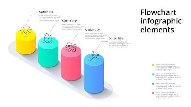 Infografiken zu geschäftsprozessdiagrammen mit 4 schrittsegmenten zylindrische 3d-unternehmenszeitachsen-infografik