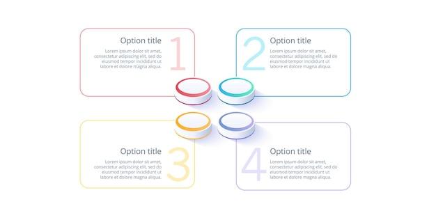 Infografiken zu geschäftsprozessdiagrammen mit 4 schrittsegmenten