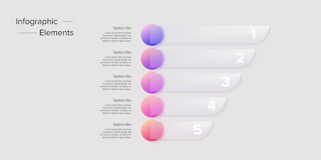 Infografiken zu geschäftsprozessdiagrammen mit 5 schrittkreisen kreisförmige grafische elemente des unternehmensworkflows präsentationsfolie des unternehmensflussdiagramms