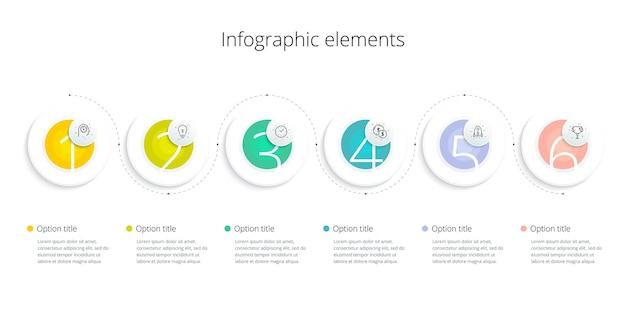 Infografiken zu geschäftsprozessdiagrammen mit 6-schritt-optionen quadratische grafik zum unternehmensworkflow