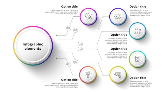 Infografiken zu geschäftsprozessdiagrammen mit 6 schrittsegmenten. zirkuläre infografikelemente der unternehmenszeitleiste. folienvorlage für unternehmenspräsentationen.