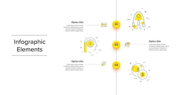 Infografiken zu geschäftsprozessdiagrammen mit kreisen mit 3 schritten kreisförmige grafik zum unternehmensworkflow
