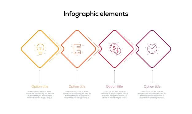 Infografiken zu geschäftsprozessdiagrammen mit vierstufigen rauten quadratische grafische elemente des unternehmensworkflows