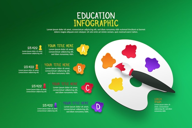 Infografiken zur bildung im farbverlauf