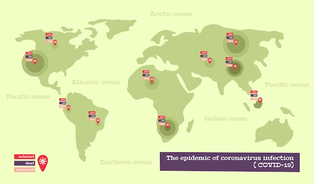Infografiken zur coronavirus-karte