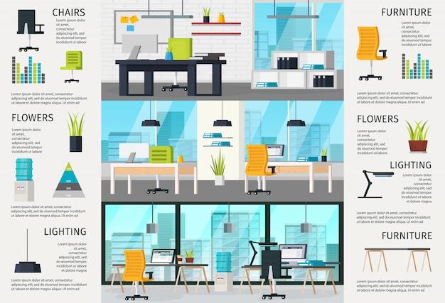 Infografiken zur innenausstattung des arbeitsplatzes