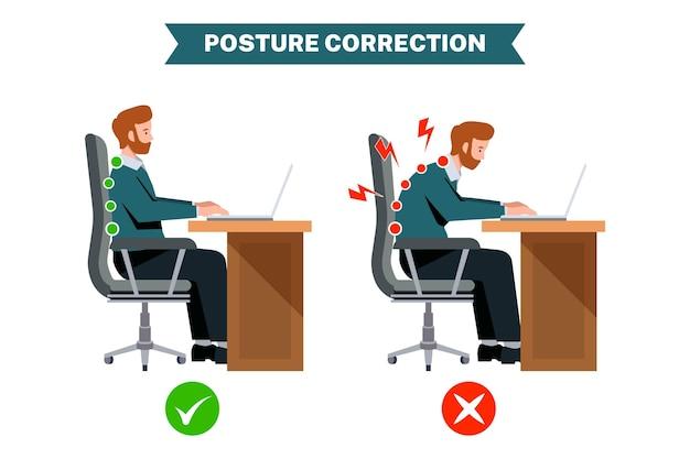 Infografiken zur korrektur der flachen haltung