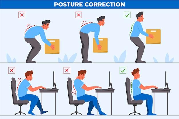 Infografiken zur korrektur der flachen körperhaltung