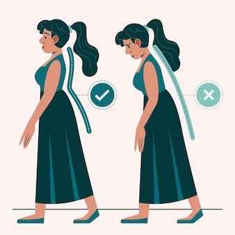 Infografiken zur korrektur der körperhaltung mit flachem design