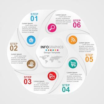 Infografiken zur zeitleiste von geschäftsprozessen 6 schritte.