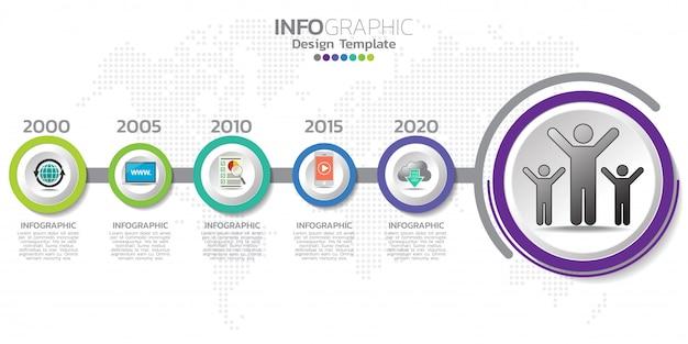 Infografikenvorlage für die zeitleiste mit pfeilen, flussdiagramm, workflow oder prozess.