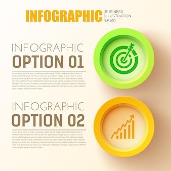 Infografikkonzept der geschäftsoptionen mit zwei 3d-farbigen kreisknöpfen