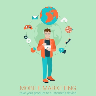 Infografikkonzept der modernen mobilen marketing-geschäftsstrategie des flachen stils. konzeptionelle web-illustration junge karte touch tablet ziel gamification chat anruf e-mail e-mail globale messaging-unterstützung.