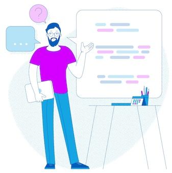 Infografikkonzept der präsentation des geschäftsberichts mit flachem design. büro sprecher besprechungsraum bericht geschäftliche zusammenarbeit teamwork brainstorming.