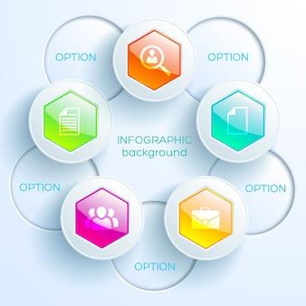 Infografikkonzept des abstrakten diagramms mit bunten glänzenden sechsecken-lichtkreisen und -ikonen