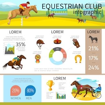 Infografikschablone des karikaturreiterclubs mit jockeys, die pferdekappenhandschuh-hufeisenmedaillen-bürstendiagrammgraphen reiten