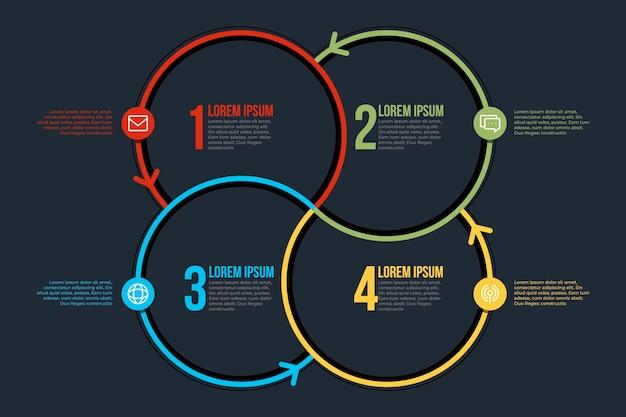 Infografikschablone des linearen flachen kreisdiagramms