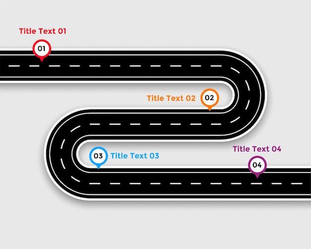 Infografikschablone des weges mit kurvenreicher straße