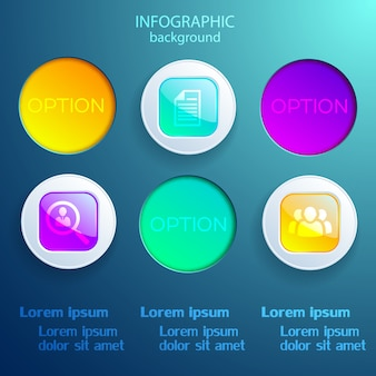 Infografikschablone mit den bunten quadratischen und runden elementen der geschäftsikonen lokalisiert