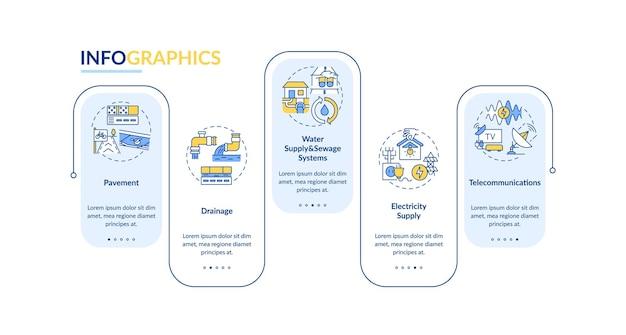 Infografikschablonenillustration des städtischen nutzens und der einrichtung