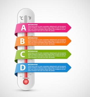 Infografikthermometer mit mehrfarbigen bändern.