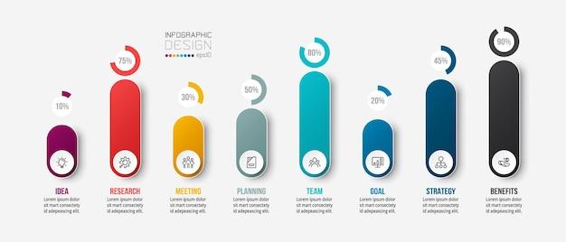 Infografikvorlage des geschäftskonzepts mit prozentualer option