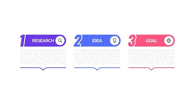 Infografikvorlage für geschäftsprozesse mit optionen oder schritten. abbildung grafik.