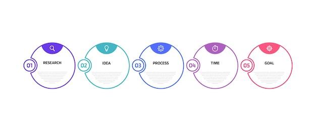Infografikvorlage für geschäftsprozesse mit optionen oder schritten. dünne linie . abbildung grafik.