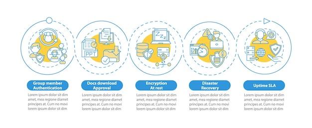 Infografikvorlage für sicherheitsparameter des telearbeitswerkzeugs