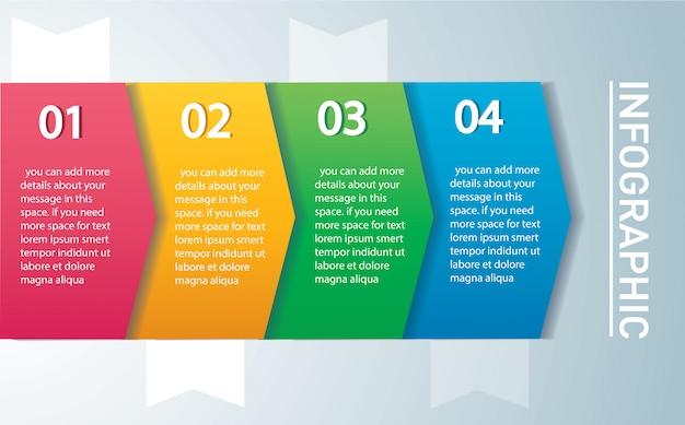 Infografikvorlage pfeil mit 4 optionen