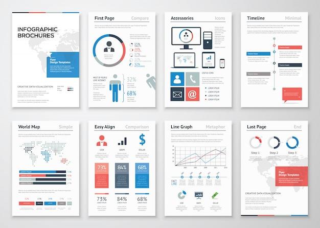 Infografische broschüre vektor-elemente sammlung für unternehmen