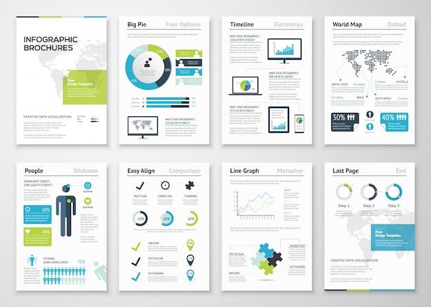 Infografische broschüren für die visualisierung von geschäftsdaten