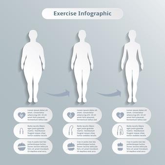 Infografische elemente für frauen fitness und sport der schlankheit gewichtsverlust und gesundheitswesen vektor-illustration