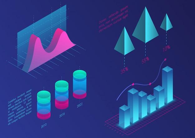 Infografische isometrische diagrammelemente. diagramme zu daten- und geschäftsfinanzdiagrammen. statistikdaten. farbverlaufsvorlage für präsentation, verkaufsbanner, einkommensberichtsentwurf, website.