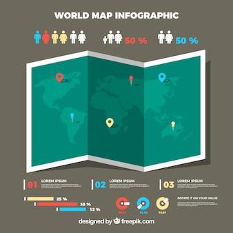 Infografische karte in flachem design