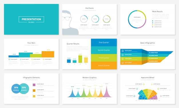 Infografische präsentation folienvorlagen und vektorbroschüren