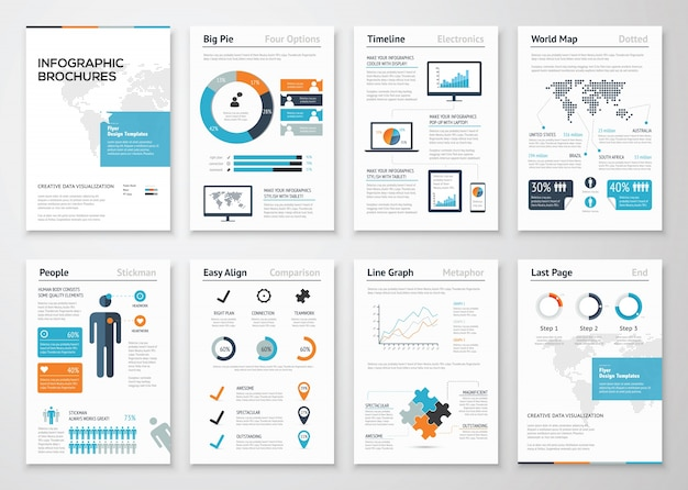 Infografische prospekt-elemente für die visualisierung von geschäftsdaten