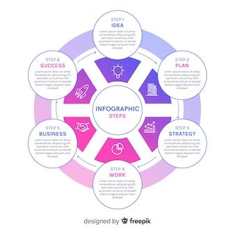 Infografische schritte mit farbverlauf