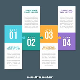 Infografische schritte mit puzzle-stil
